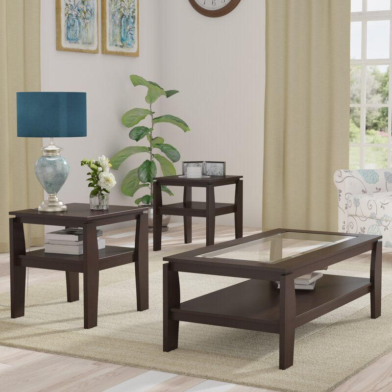 Red barrel studio golder 3 piece coffee table set - Three piece living room table set ...