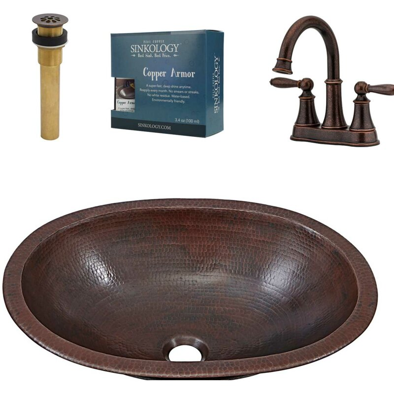 Wallace and Courant All-In-One Metal Oval Undermount Bathroom Sink with Faucet and Overflow