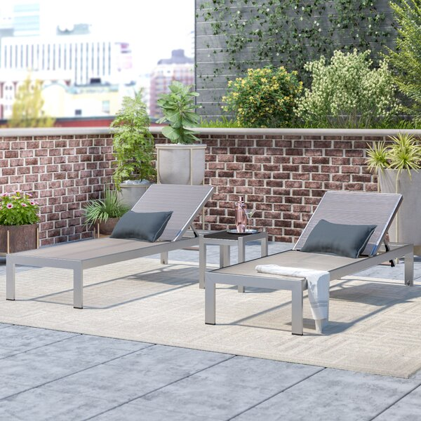 Coline Sun Reclining Chaise Lounge (Set of 3) by Orren Ellis Orren Ellis