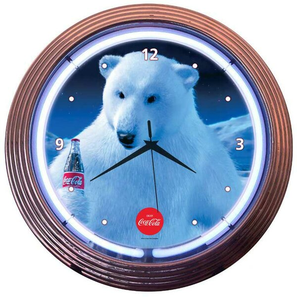 Drinks 15 Coca Cola Polar Bear Wall Clock by Neonetics