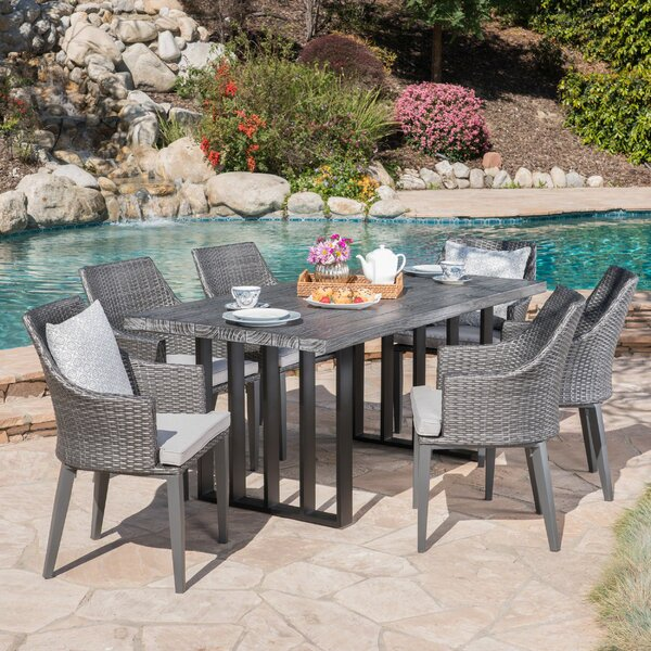 Yokley Outdoor 7 Piece Dining Set with Cushions by Rosecliff Heights