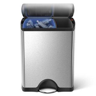 12.5 Gallon Rectangular Step Trash Can Multi-Compartments Trash & Recycling Bin by simplehuman