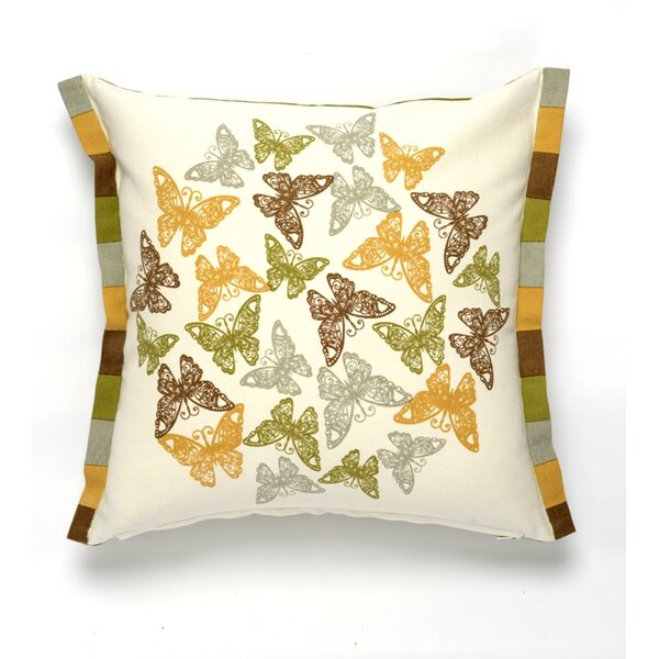 Butterfly Flutter Cotton Pillow Cover by Darzzi