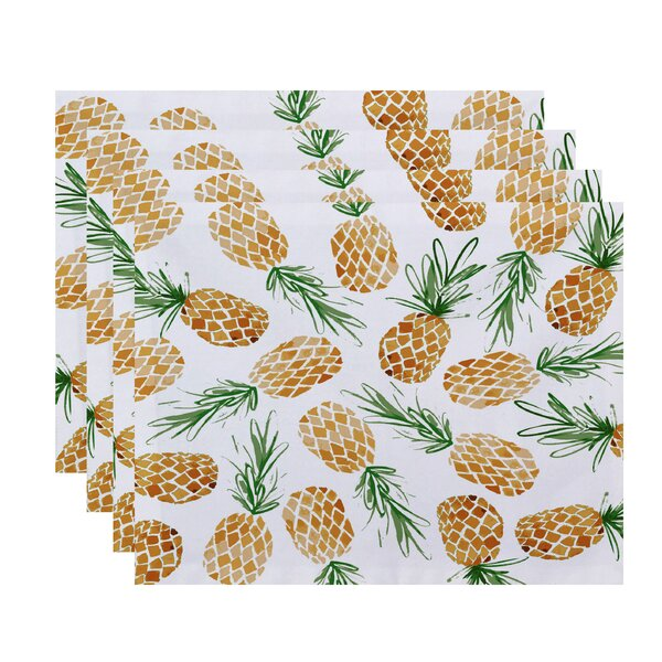 Thirlby Tossed Pineapple Placemat (Set of 4) by Beachcrest Home