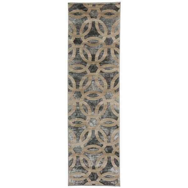 Dodsworth Contemporary Circle Design Beige Area Rug by House of Hampton