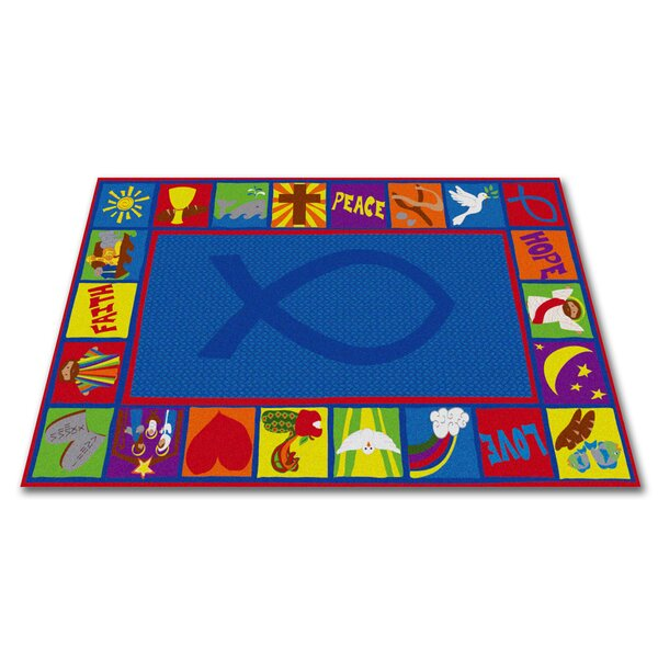 Bible Squares Christian School Blue Area Rug by Kid Carpet