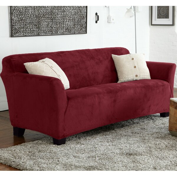 Velvet Plush Form Fit Stretch Box Cushion Sofa Slipcover By Latitude Run