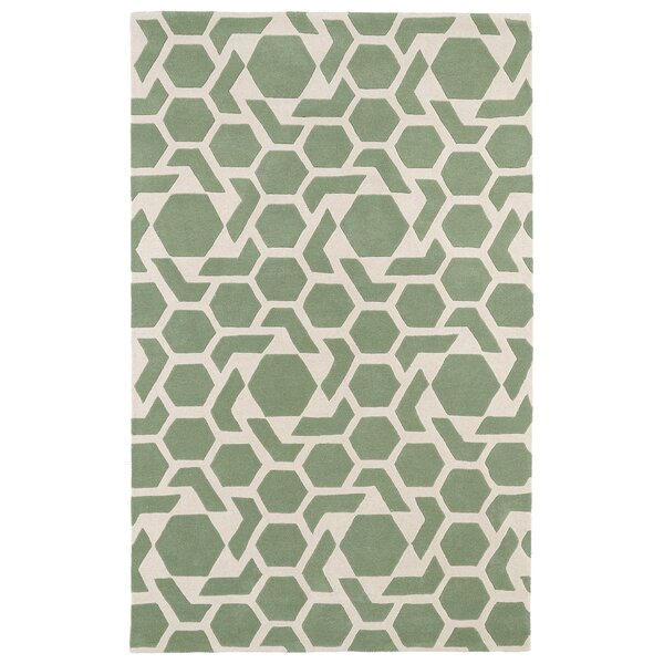 Fairlee Hand-Tufted Mint/Ivory Area Rug by Wrought Studio