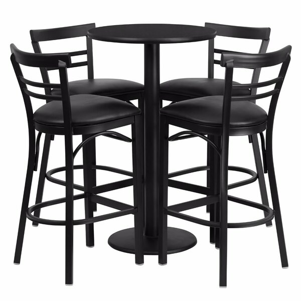 Alvarez Modern Round Laminate 5 Piece Pedestal Pub Table Set by Red Barrel Studio