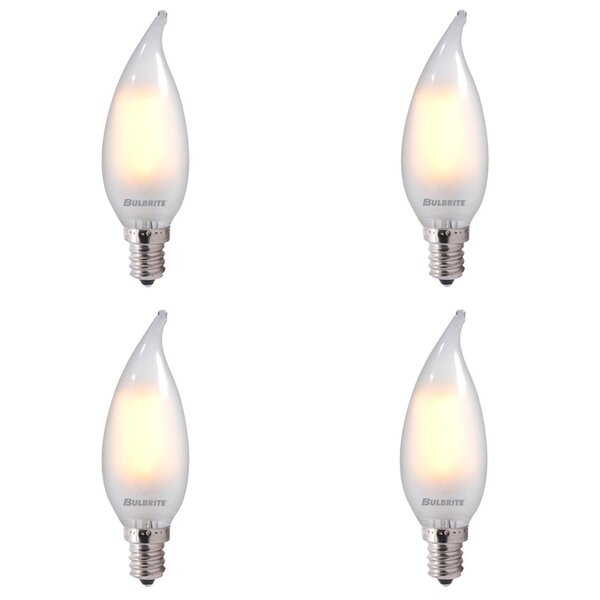 4W E12 Dimmable LED Candle Light Bulb Frosted (Set of 4) by Bulbrite Industries