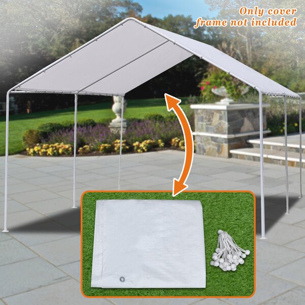 New Carport Garage Tarp 20 Ft. W x 10 Ft. D Patio Gazebo Canopy by Strong Camel
