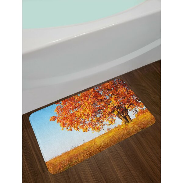 Lonely Orange Yellow Pale Blue Fall Bath Rug by East Urban Home