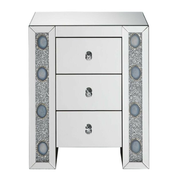 Jovita Wood and Mirror 3 Drawer Nightstand by Everly Quinn
