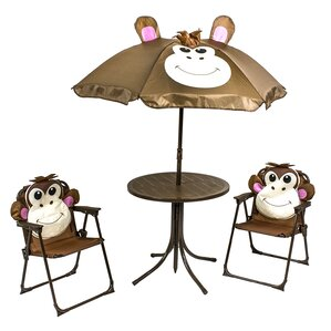 Monkey Kidu0027s 4 Piece Round Table And Chair Set