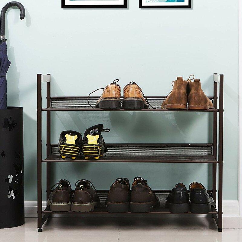 3 Tier Stackable Metal Shoe Rack Flat Slant Adjustable Shoe Organizer Shelf