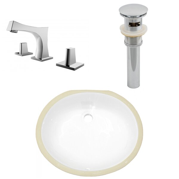 Ceramic Oval Undermount Batroom Sink with Faucet and Overflow