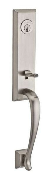 Del Mar Single Cylinder Handleset with Curve Door Lever and Traditional Square Rose with Smartkey by Baldwin