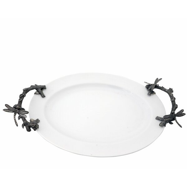 Garden Friends Stoneware Serving Tray with Dragonflies Pewter Handles by Vagabond House