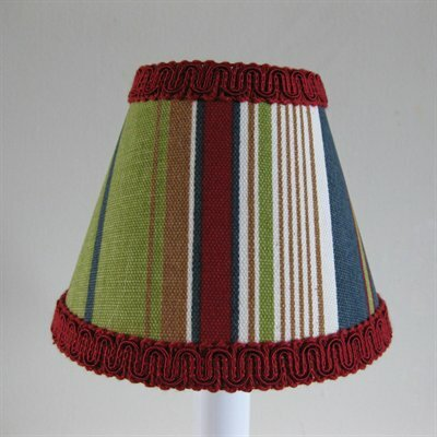 Varsity Stripe 4 H Fabric Empire Candelabra Shade ( Clip On ) in Red/Green/Blue