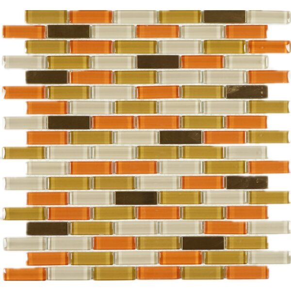 0.62 x 2 Glass Mosaic Tile in Orange/White by Multile