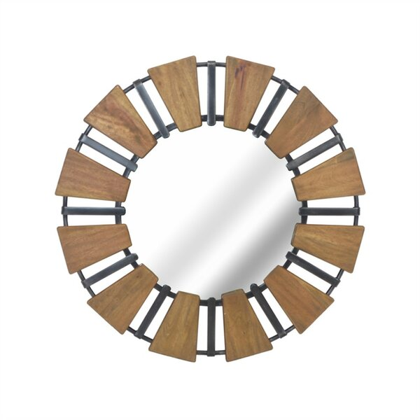 Couey Contemporary Style Wood Accent Mirror with Metal Accents by 17 Stories