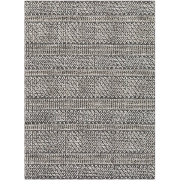 Ayana Striped Charcoal/Ivory Indoor / Outdoor Area Rug