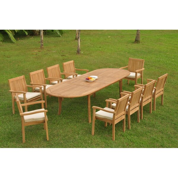 Marcy 11 Piece Teak Dining Set by Rosecliff Heights