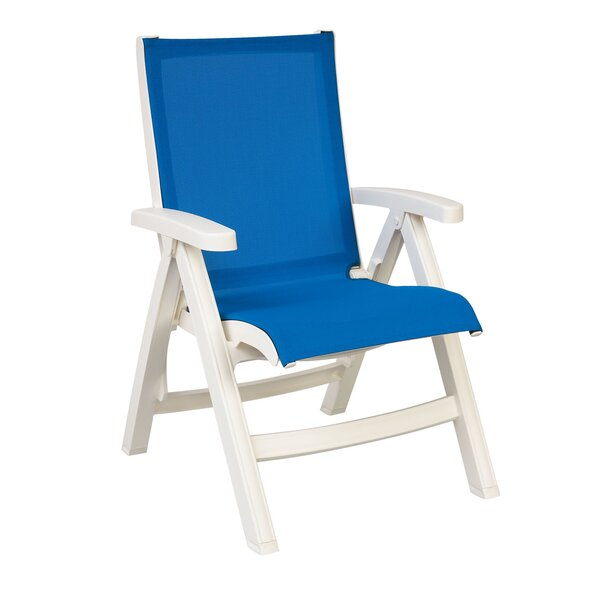 Elodie Midback Folding Sling Patio Chair with Cushions (Set of 2) by Highland Dunes