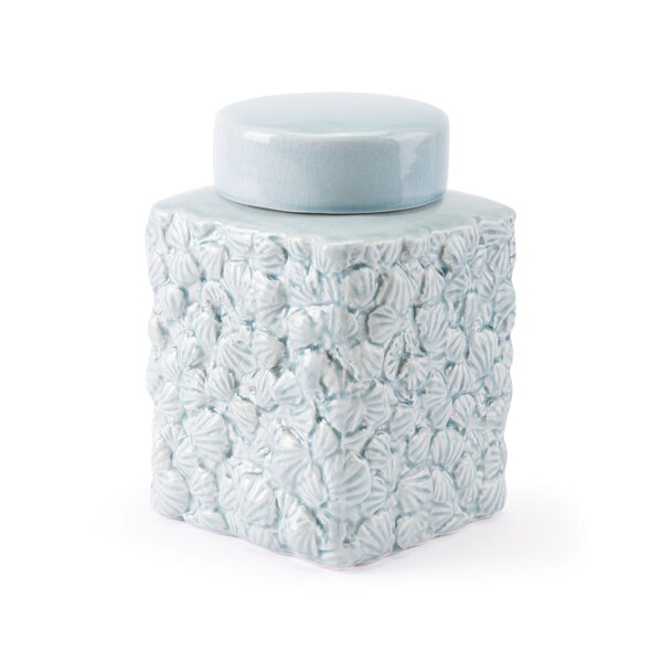 Shells Covered Storage Jar by Highland Dunes