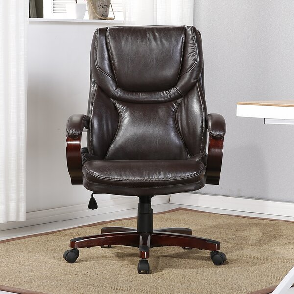 Abigale Adjustable Lumbar Support High-Back Executive Chair by Winston Porter