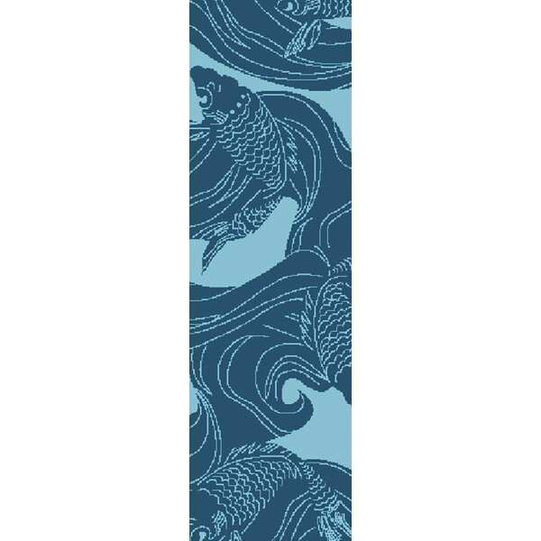 Kahleel Aqua Indoor/Outdoor Area Rug by Highland Dunes