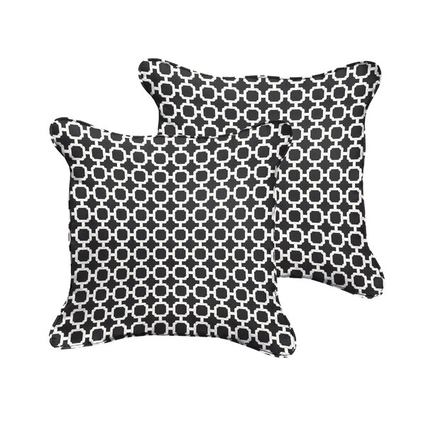 Samantha Geometric Piped Indoor/Outdoor Throw Pillow (Set of 2) by Latitude Run