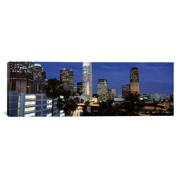 Panoramic Skyscrapers in a City, City of Los Angeles, Los Angeles County, California Photographic Print on Canvas by iCanvas