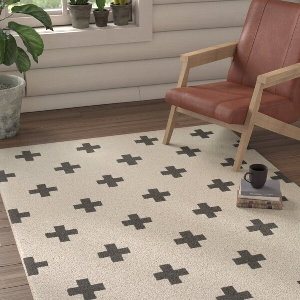 Litten Hand-Crafted White/Black Area Rug by Union Rustic