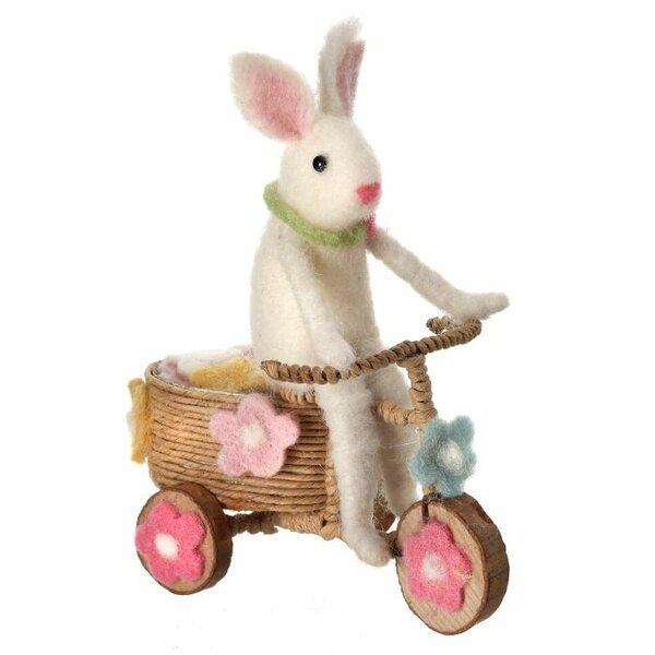 Dutil Wool Easter Bunny on Tricycle Figurine by The Holiday Aisle