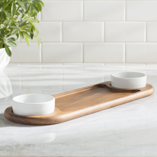 Chamomile Acacia 3 Piece Double Chip & Dip Tray by Mint Pantry