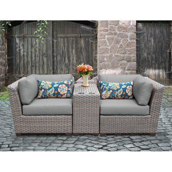 Meeks 3 Piece Rattan Conversation Set with Cushions by Rosecliff Heights