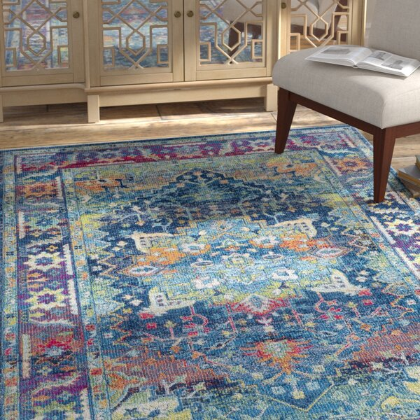 Tillamook Silk Traditional Floral Sky Blue/Bright Blue Area Rug by Bungalow Rose