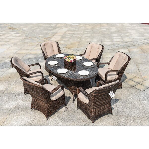 Silas 7 Piece Dining Set with Cushions by Bayou Breeze