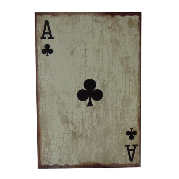 Wooden Ace of Clubs Graphic Art Plaque by Cheungs