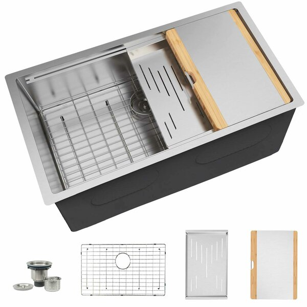 Stainless Steel 10 L x 19 W Undermount Kitchen Sink with Basket Strainer