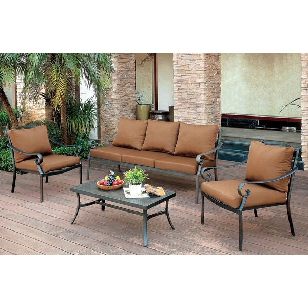 Clemence 4 Piece Conversation Set with Cushions by Fleur De Lis Living