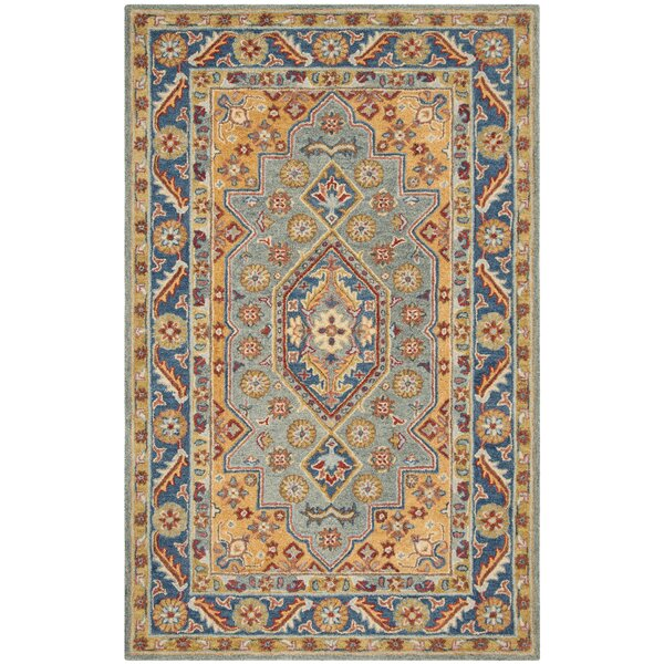 Clymer Antiquity Hand-Tufted Wool/Cotton Blue/Gold Area Rug by Charlton Home