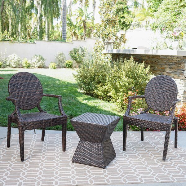 Hadar 3 Piece Rattan Seating Group by Ophelia & Co.