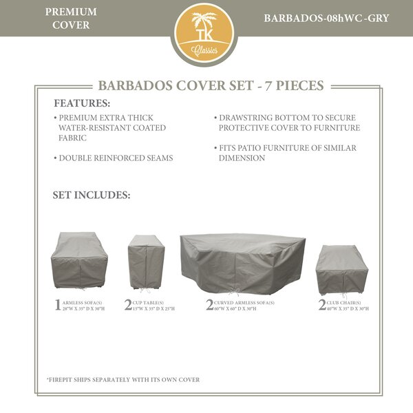 Barbados 7 Piece Water Resistant Patio Sofa Cover Set by TK Classics