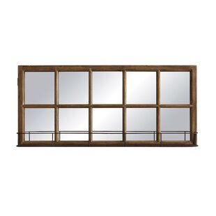 Gracie Oaks Wagga Wagga Wood and Metal Window Pane Wall Mirror with Shelf