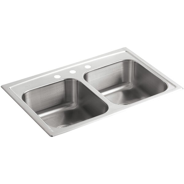 Toccata 33 L x 22 W x 8-3/16 Top-Mount Double-Equal Bowl Kitchen Sink with 3 Faucet Holes by Kohler