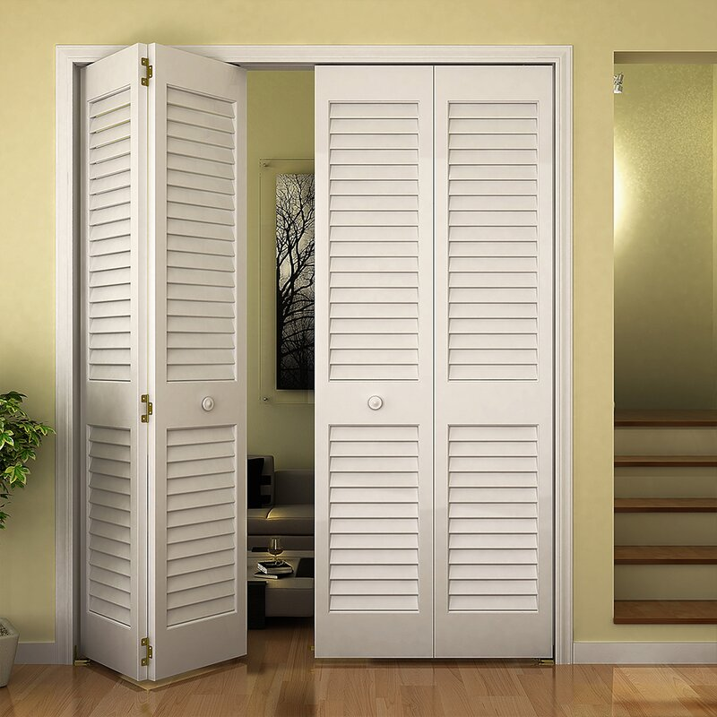 Plantation Louver Panel Wood Bi Fold Door