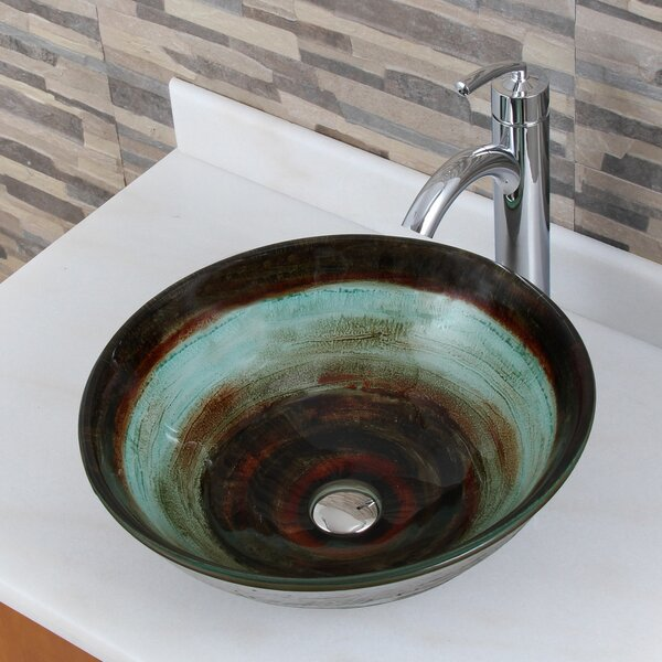 Elite Glass Circular Vessel Bathroom Sink by Elima