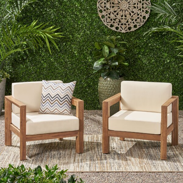 Cureton Outdoor Patio Chair with Cushions (Set of 2) by Gracie Oaks